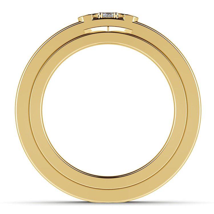 Matching Split Heart Diamond Wedding Ring Set in Yellow Gold | 03