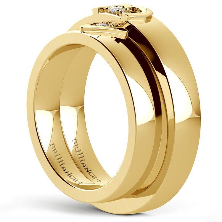 Matching Split Heart Diamond Wedding Ring Set in Yellow Gold | 04