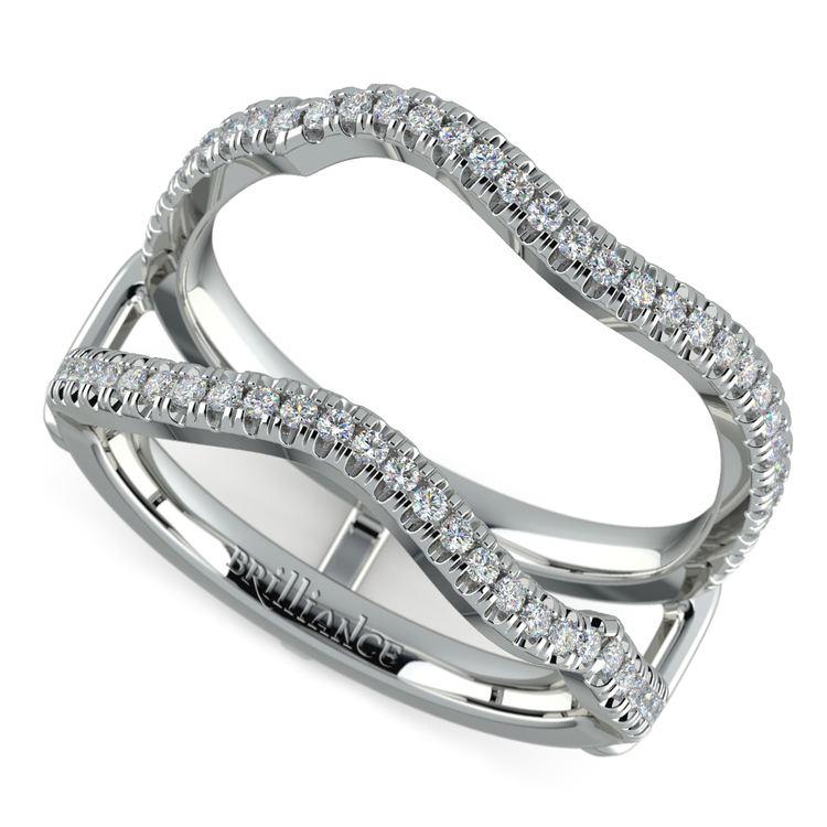Matching Sunburst Diamond Ring Wrap in White Gold   01