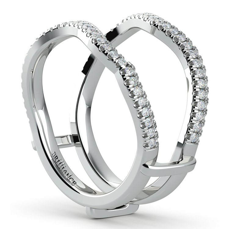 Matching Sunburst Diamond Ring Wrap in White Gold   05