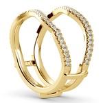 Matching Sunburst Diamond Ring Wrap In Yellow Gold | Thumbnail 05