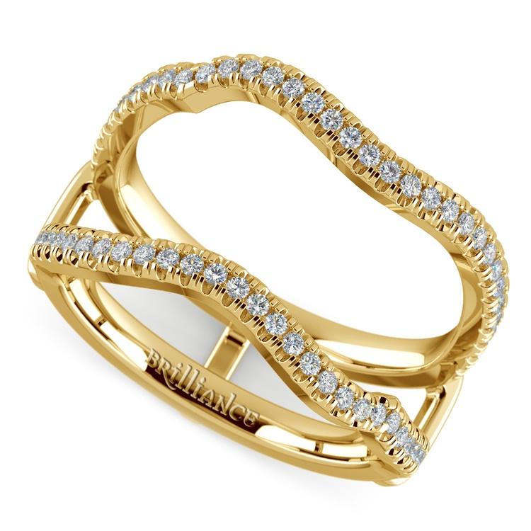 Matching Sunburst Diamond Ring Wrap In Yellow Gold | 01