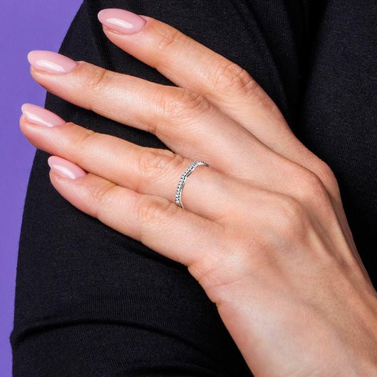 Matching Sunburst Diamond Wedding Ring in White Gold | 07