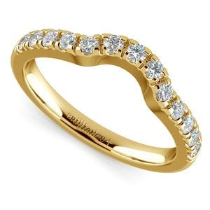 Matching Trellis Diamond Wedding Ring in Yellow Gold
