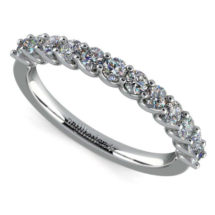 Matching U-Prong Diamond Wedding Ring in Platinum | 01