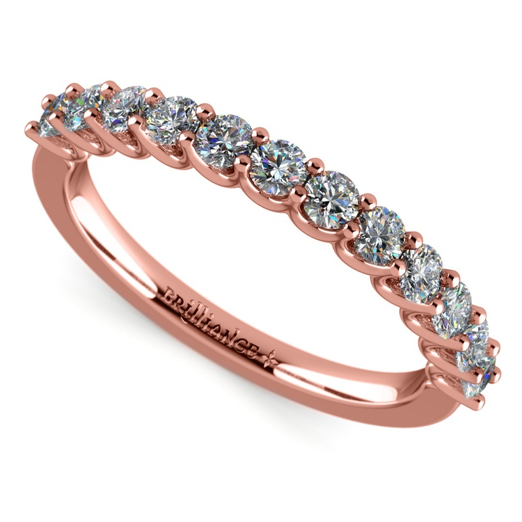 Matching U-Prong Diamond Wedding Ring in Rose Gold | 01