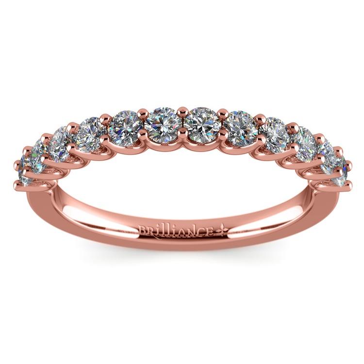 Matching U-Prong Diamond Wedding Ring in Rose Gold | 02
