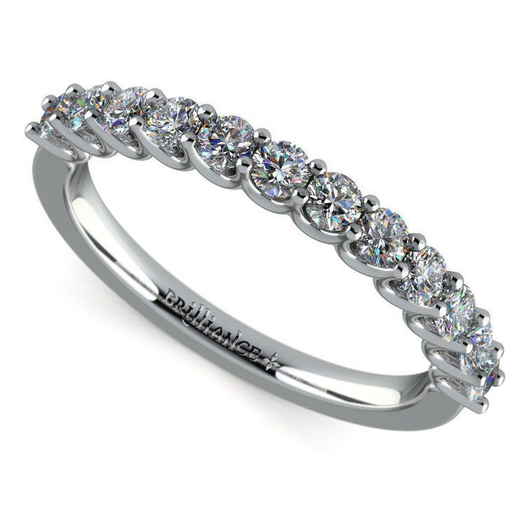 Matching U-Prong Diamond Wedding Ring in White Gold | 01