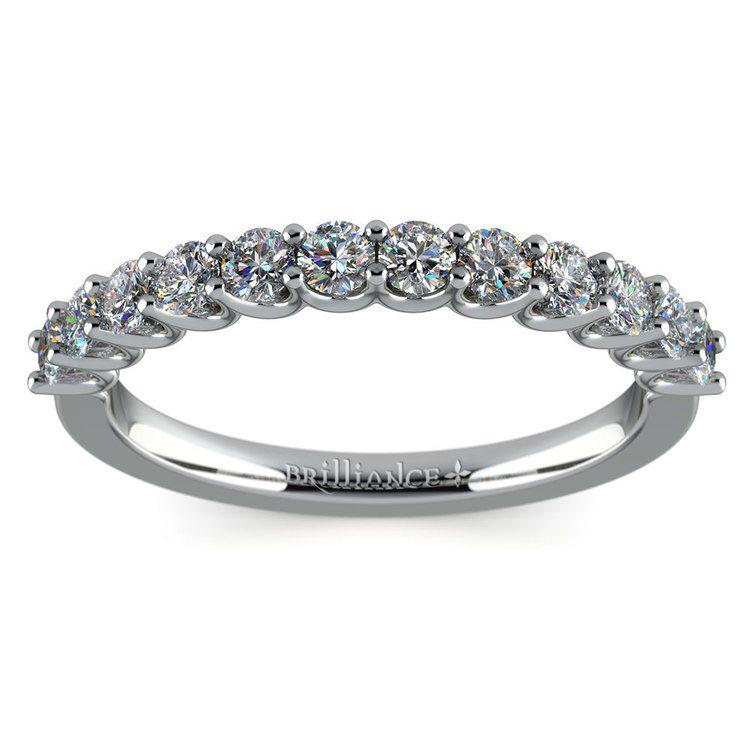 Matching U-Prong Diamond Wedding Ring in White Gold | 02