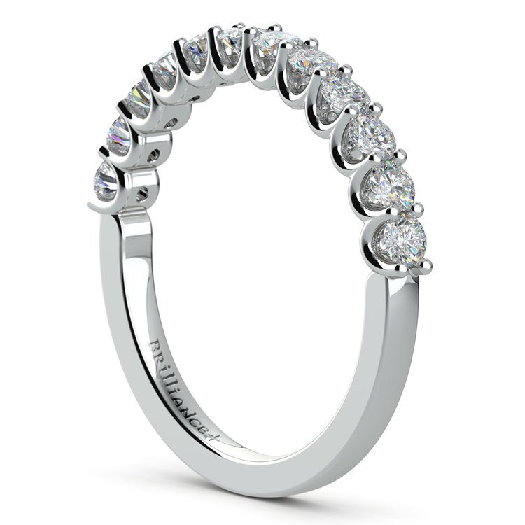 Matching U-Prong Diamond Wedding Ring in White Gold | 04
