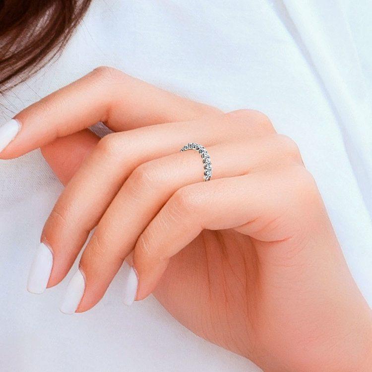 Matching U-Prong Diamond Wedding Ring in White Gold   07