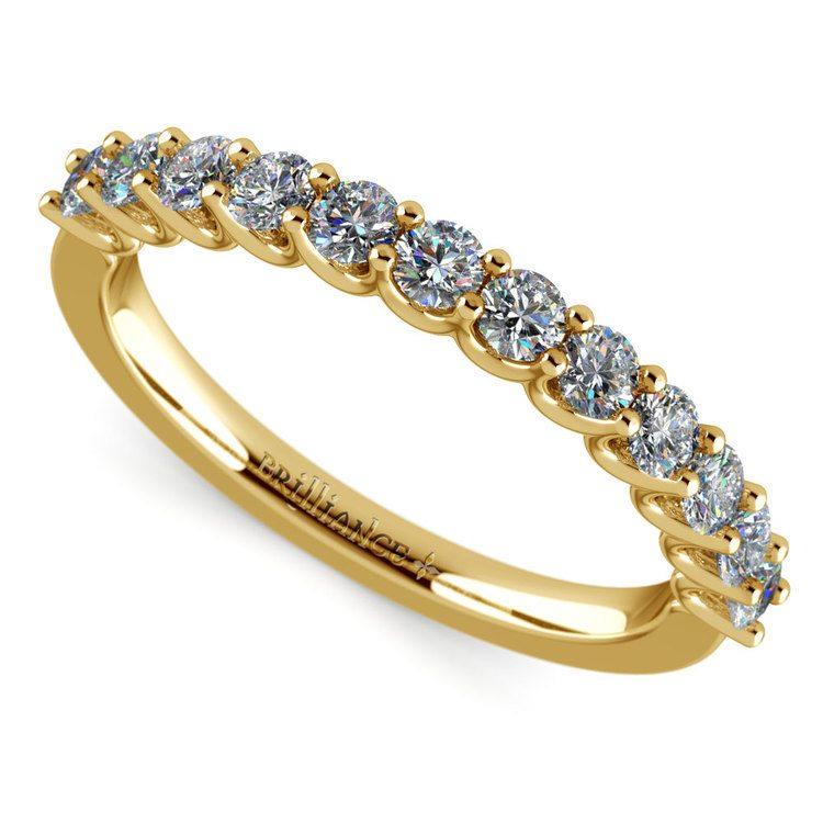 Matching U-Prong Diamond Wedding Ring in Yellow Gold | 01