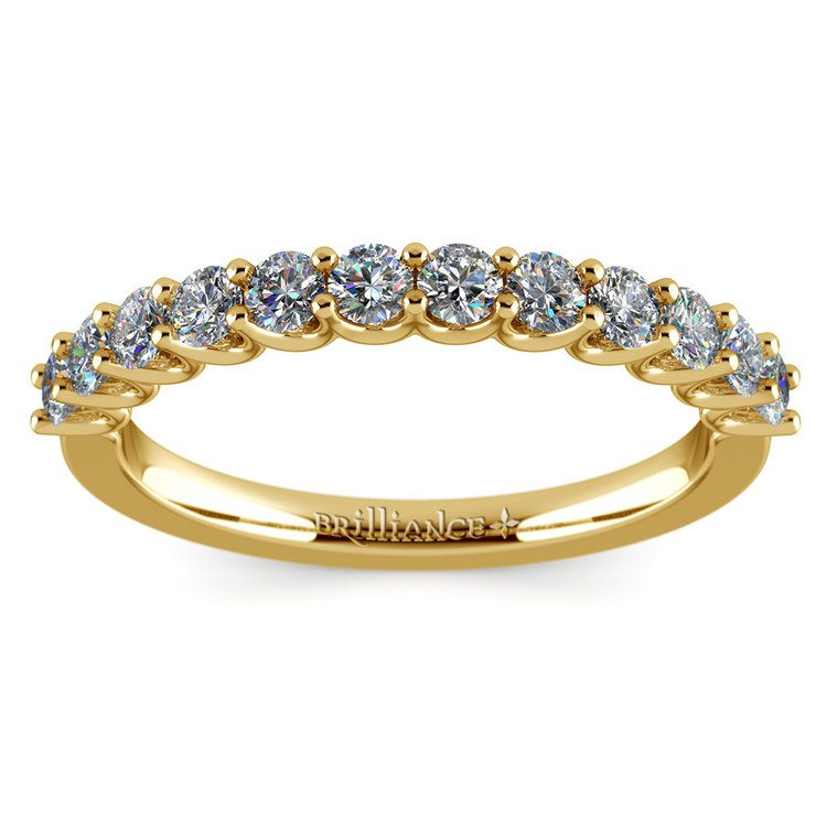 Matching U-Prong Diamond Wedding Ring in Yellow Gold | 02