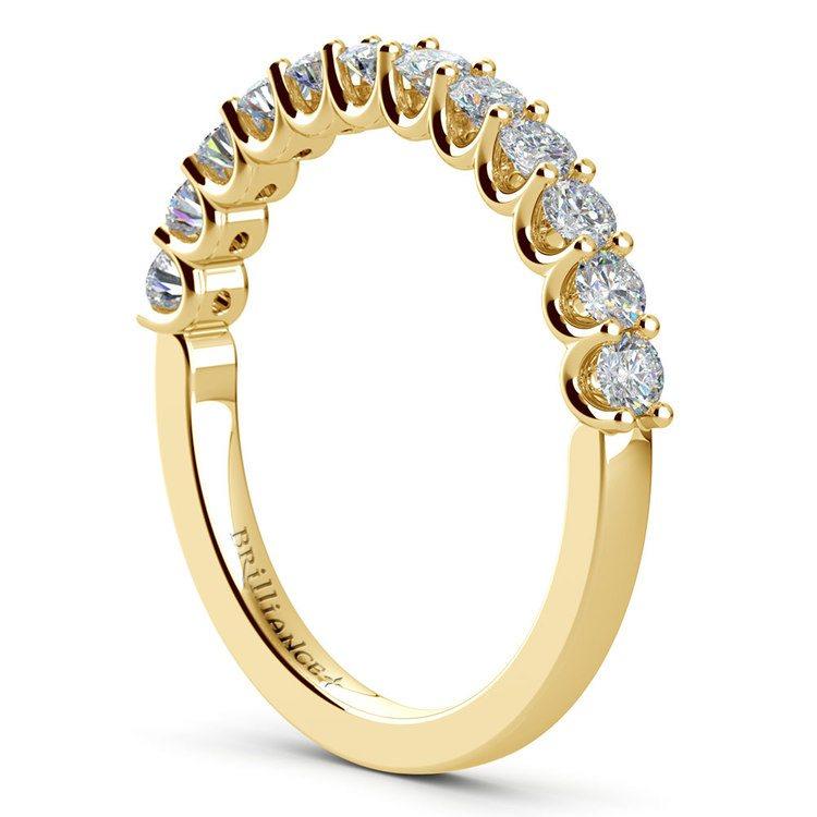 Matching U-Prong Diamond Wedding Ring in Yellow Gold | 04