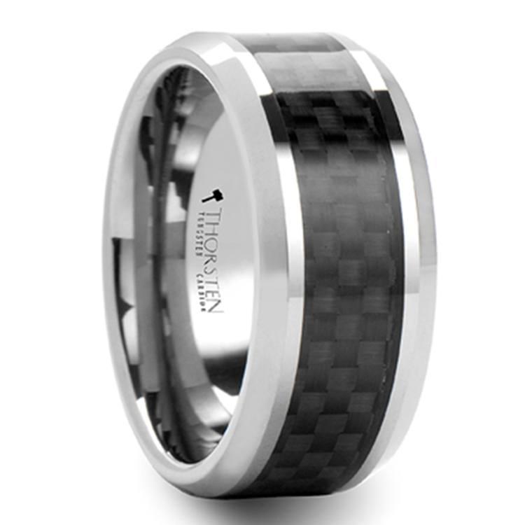 Tungsten Men's Wedding Ring with Black Carbon Fiber Inlay (8mm) | 02
