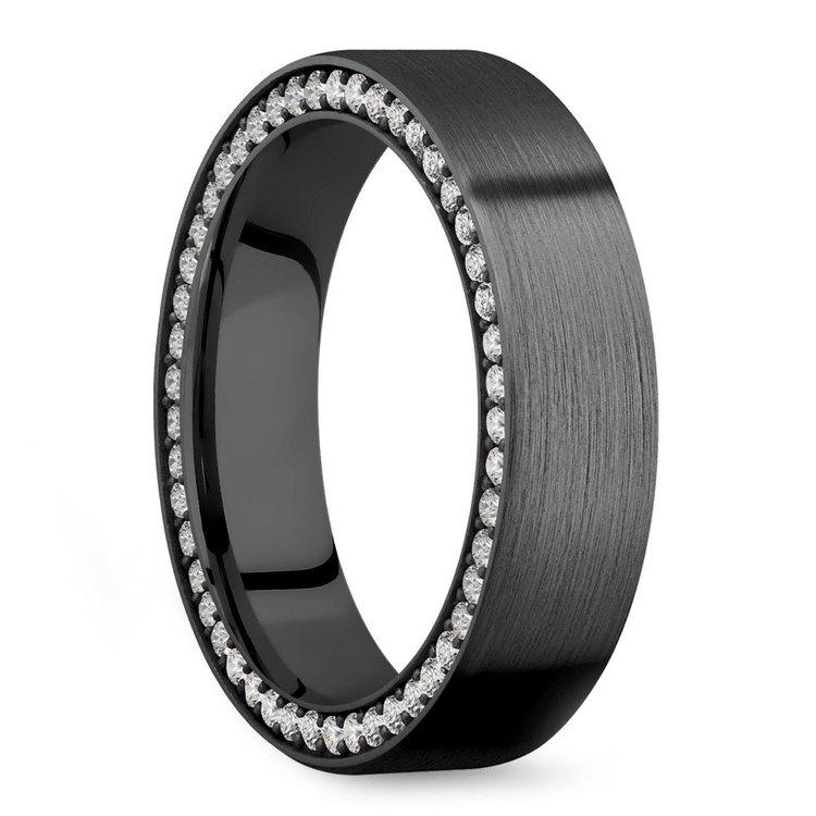 Men's Black Zirconium Diamond Wedding Band - 6mm Wide   02