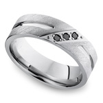 Men's Cobalt Diamond Wedding Band With Accent Grooves   Thumbnail 01