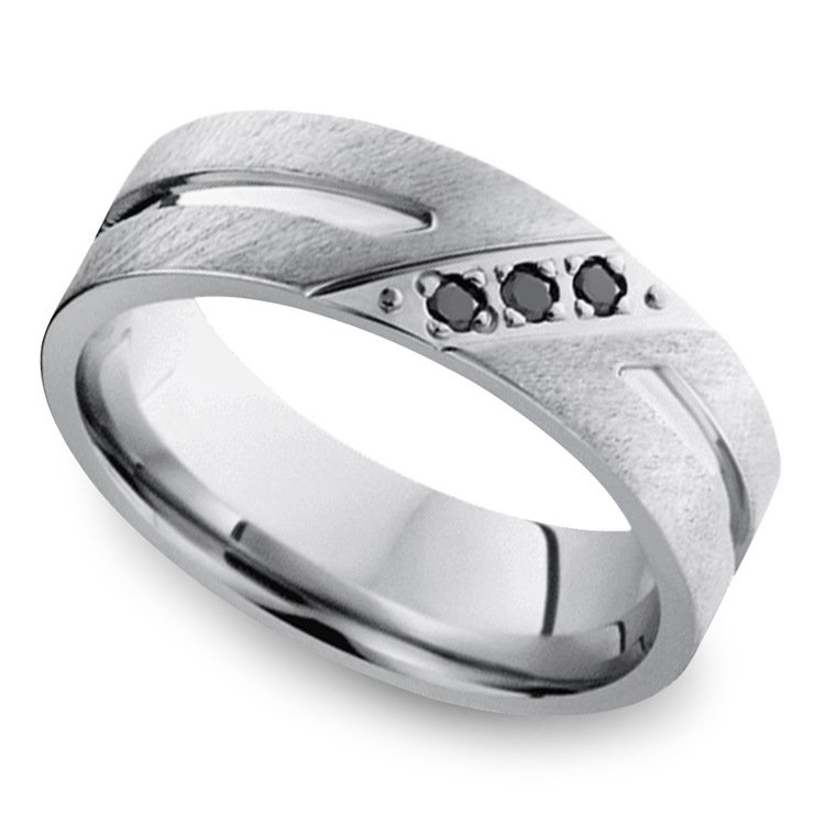 Men's Cobalt Diamond Wedding Band With Accent Grooves   01
