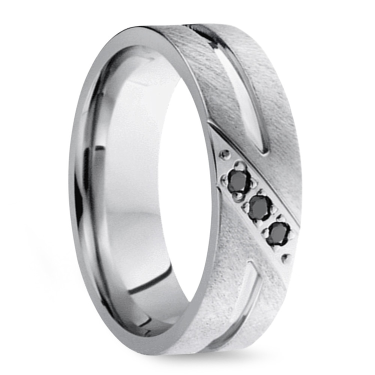Men's Cobalt Diamond Wedding Band With Accent Grooves   02