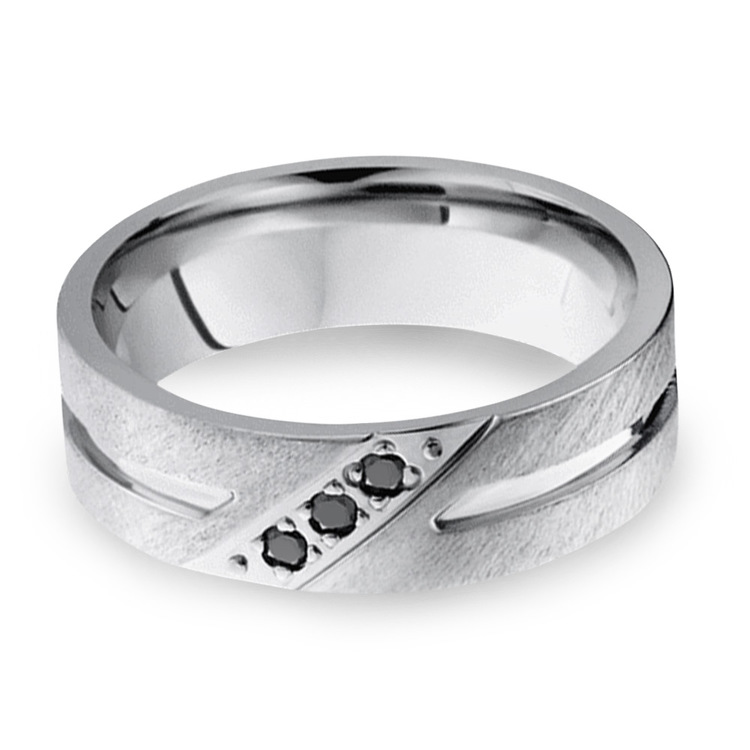 Men's Cobalt Diamond Wedding Band With Accent Grooves   03