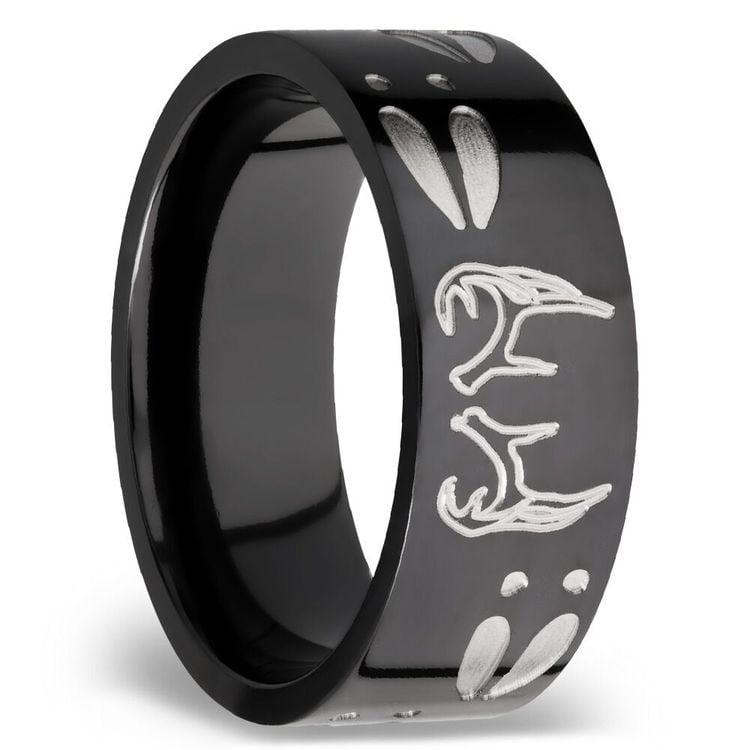Men S Wedding Ring With Deer Track Cross And Antler
