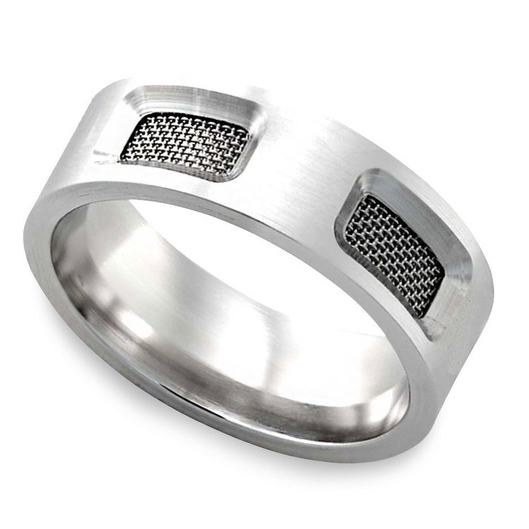 Mesh - Cobalt Mens Wedding Band | Zoom