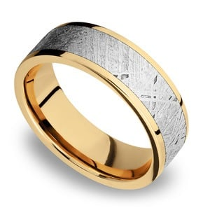 Solar Flare - 14K Yellow Gold Mens Band with Meteorite Inlay
