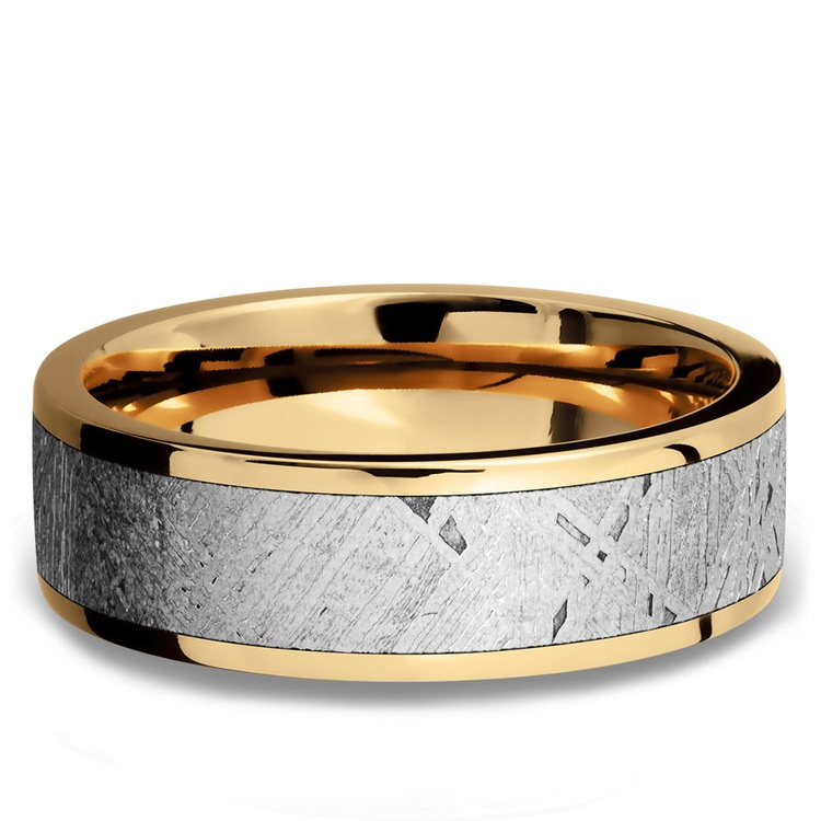 Solar Flare - 14K Yellow Gold Mens Band with Meteorite Inlay | 03