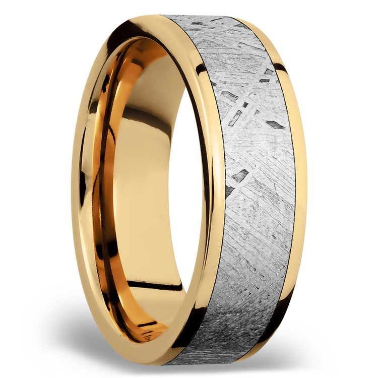 Solar Flare - 14K Yellow Gold Mens Band with Meteorite Inlay | 02