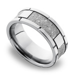 Space Walk - Square Segmented Cobalt Chrome Mens Band with Meteorite Inlay | Thumbnail 01