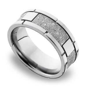 Space Walk - Square Segmented Cobalt Chrome Mens Band with Meteorite Inlay