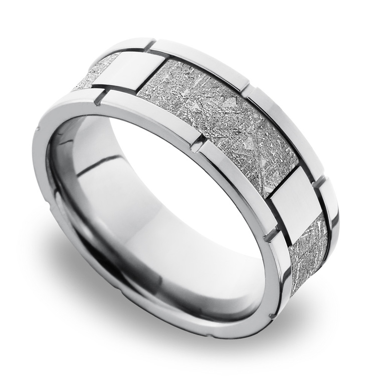 Space Walk - Square Segmented Cobalt Chrome Mens Band with Meteorite Inlay | 01