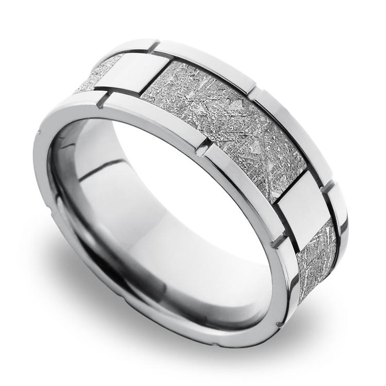 Meteorite Inlay Men's Wedding Band in Cobalt Chrome (8mm) | 01