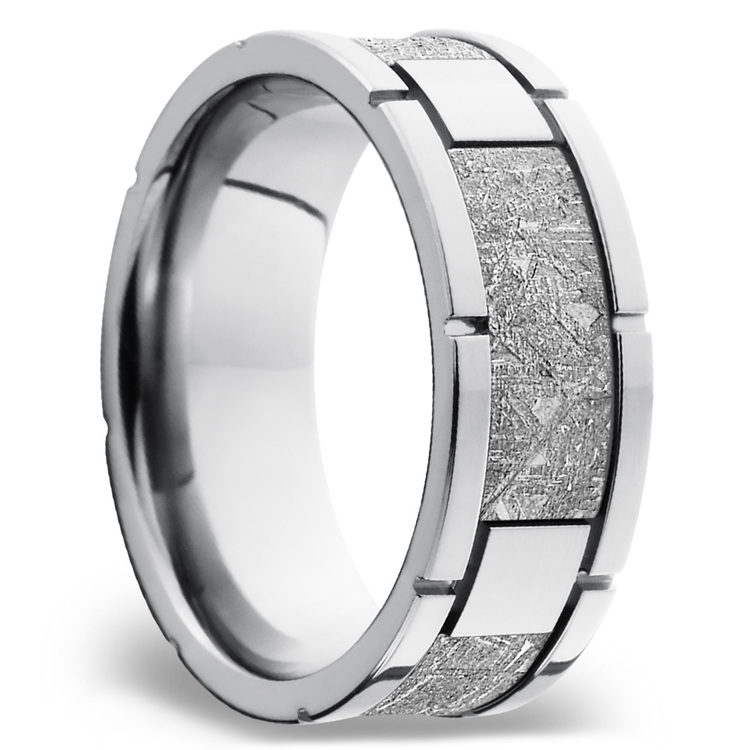 Space Walk - Square Segmented Cobalt Chrome Mens Band with Meteorite Inlay | 02