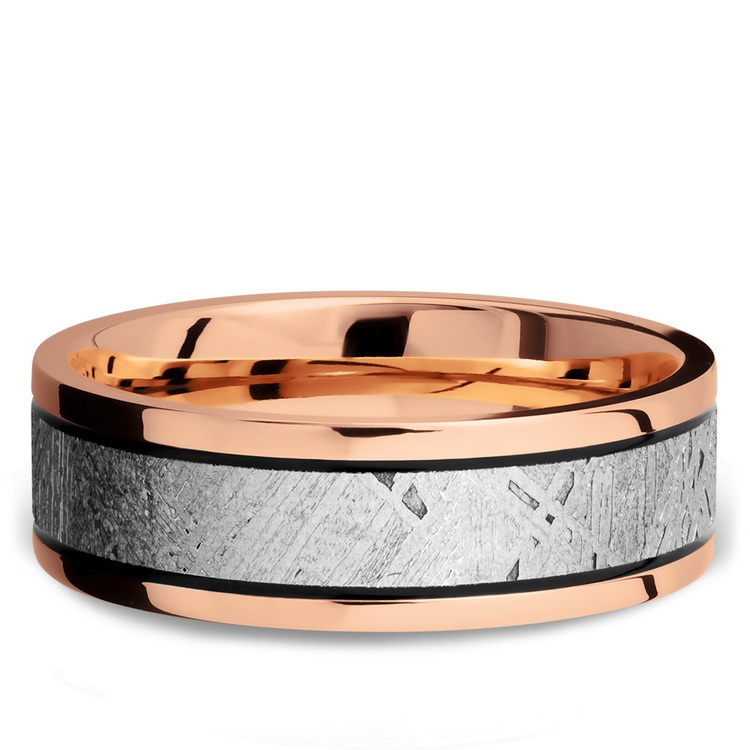 Ride On - 14K Rose Gold Mens Band with Meteorite Inlay | 03
