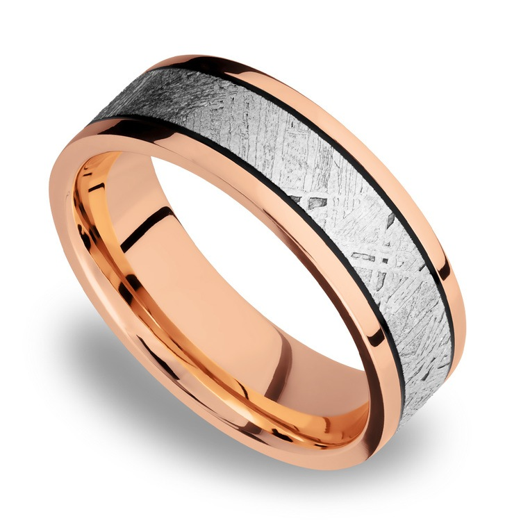 Ride On - 14K Rose Gold Mens Band with Meteorite Inlay | 01