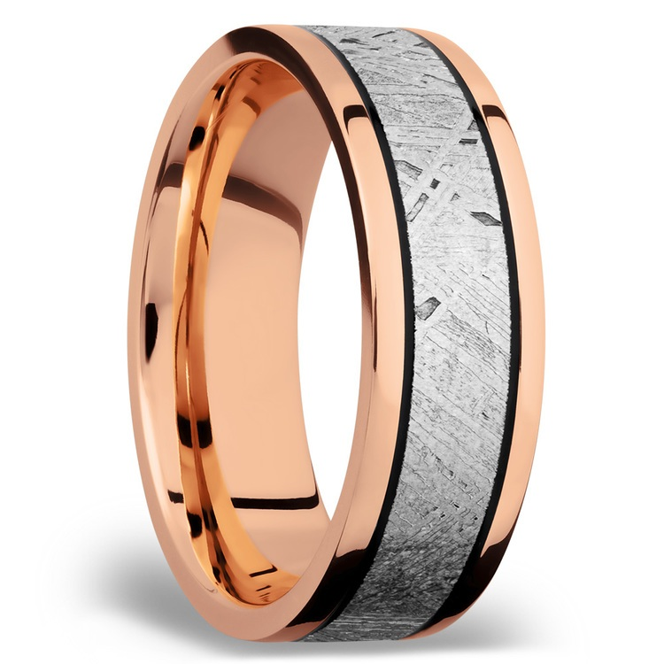 Ride On - 14K Rose Gold Mens Band with Meteorite Inlay | 02