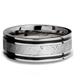 Meteorite Inlay Men's Wedding Ring in Cobalt Chrome (8mm) | Thumbnail 03