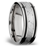 Meteorite Inlay Men's Wedding Ring in Cobalt Chrome (8mm) | Thumbnail 02