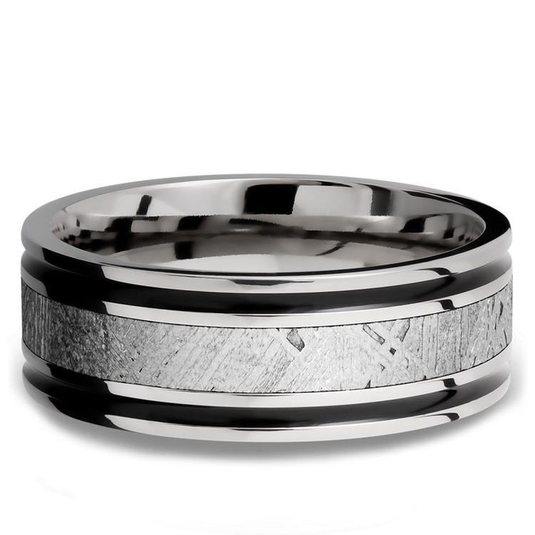The Rover - Carved Cobalt Mens Ring with Meteorite Inlay | 03