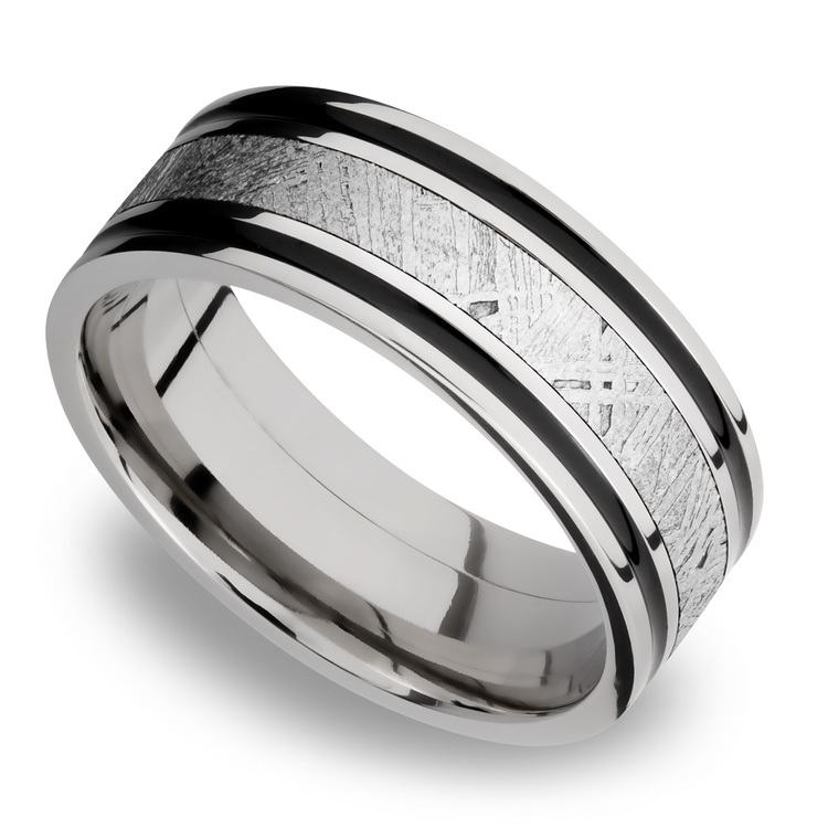 Meteorite Inlay Men's Wedding Ring in Cobalt Chrome (8mm) | 01