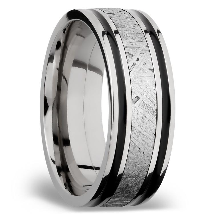 Meteorite Inlay Men's Wedding Ring in Cobalt Chrome (8mm) | 02