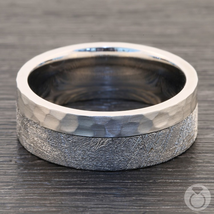 Orbiter - Hammered Cobalt Mens Meteorite Ring | 03
