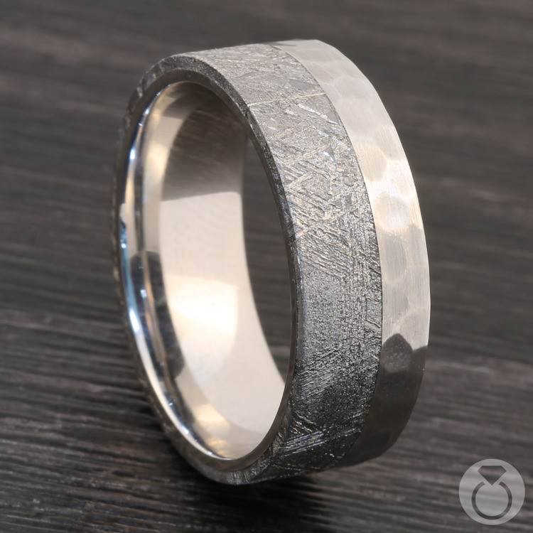 Orbiter - Hammered Cobalt Mens Meteorite Ring | 04
