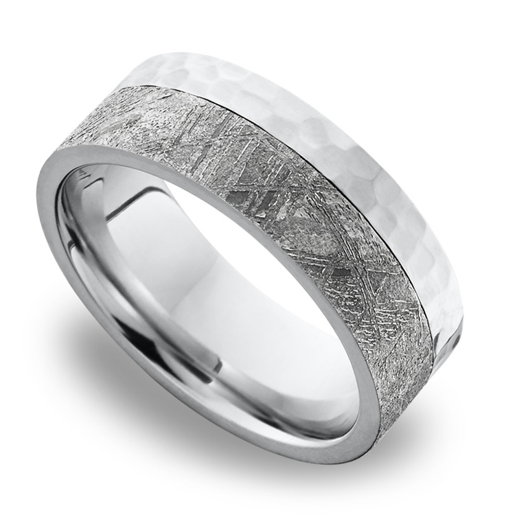 Orbiter - Hammered Cobalt Mens Meteorite Ring | 01