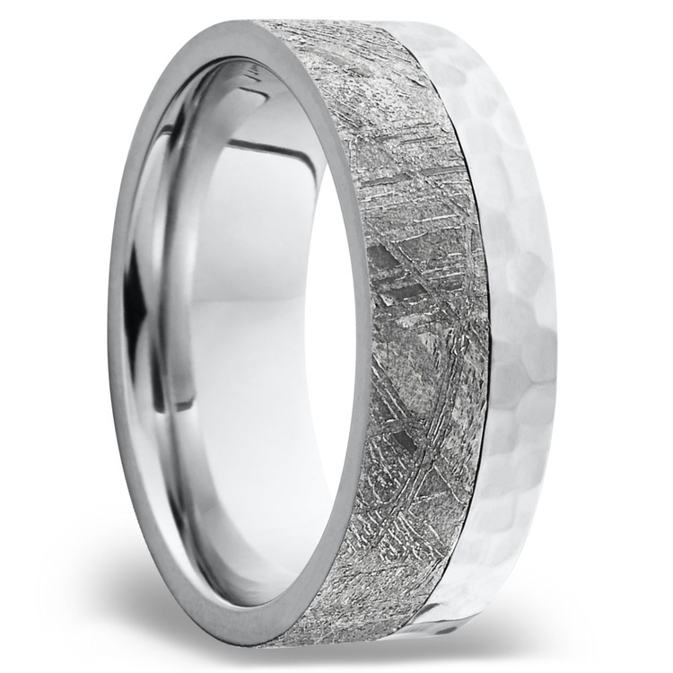 Orbiter - Hammered Cobalt Mens Meteorite Ring | 02