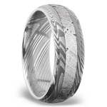 Meteorite Inlay Men's Wedding Ring with Steeped Down Edges in Damascus Steel | Thumbnail 02