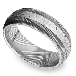 Torque - Damascus Steel Mens Ring with Meteorite Inlay