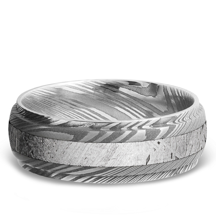 Meteorite Inlay Men's Wedding Ring with Steeped Down Edges in Damascus Steel | 03