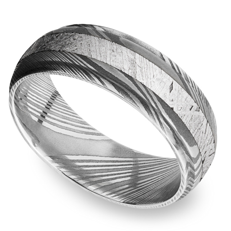 Meteorite Inlay Men's Wedding Ring with Steeped Down Edges in Damascus Steel | 01